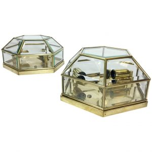 Two Octagonal Flush Mount Lights, 1970s