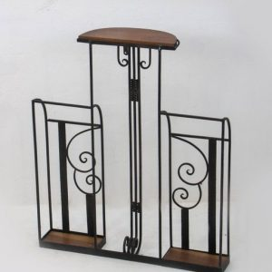 Two-piece art deco hallway set (umbrella stand, mirror and coatrack), 1920s