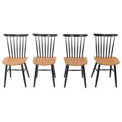 4 Plywood Spindle Back Tapiovaara Chairs, 1950s