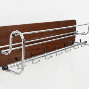 Hanging teak coat rack