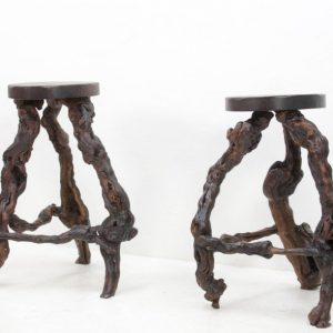 Pair of Burl Wood Stools, 1960s