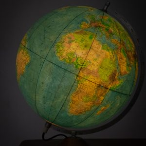 vintage world globe with light