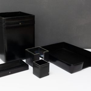 Stich Black leather desk set