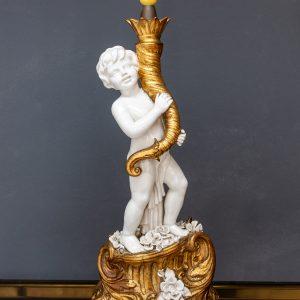 Capodimonte cherub lamp stand