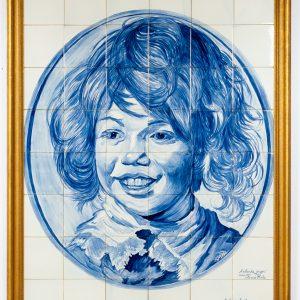 """Large  Delft Blue tile panel  """" the smiling boy """" Frans Hals"""
