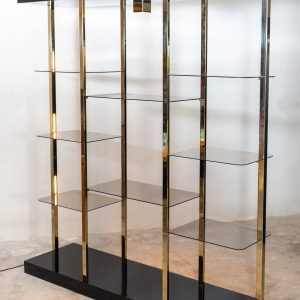 Regency Brass Vitrine cabinet  smoked glass  1970s
