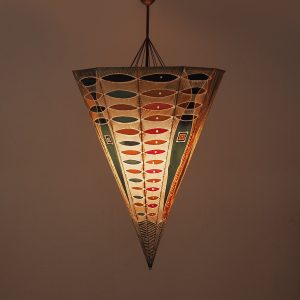 Unique Large Handmade Batik Umbrella Pendant Lamp, 1960s