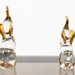 Two Christal Glass  Murano  bookends Elephants