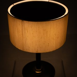 Black leather table lamp attributed Jacques Adnet