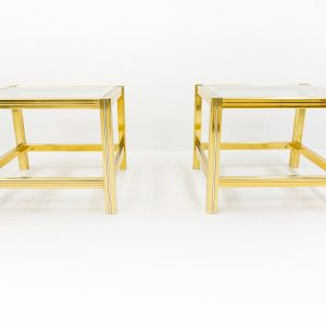 2 Brass and Glass side tables  France  1970s