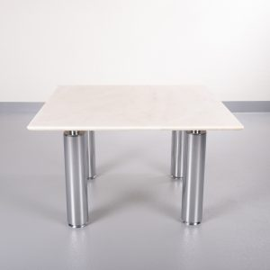 Coffee table Marble and steel 1980s Italy