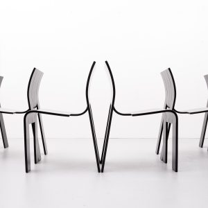 Dining set, 6 Strip chairs and matching table  Gijs Bakker 1974 Holland