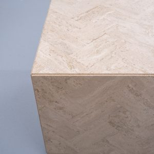 Square Travertine cube table on wheels