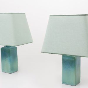 Turquoise ceramic table Lamps 1970s