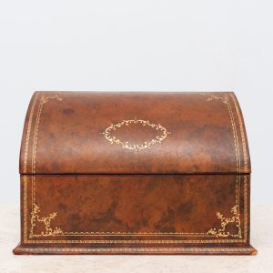 Leather Desk letter holder box with gold embossing