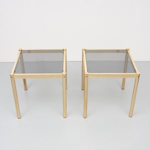 Brass side tables smoked glass top France 1970s