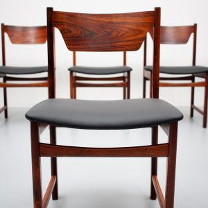 Mid Century  Rosewood dining chairs Black leather