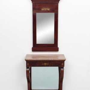 Empire style Mahogany  trumeau mirror with matching console table,