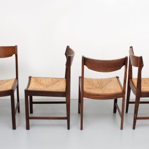 Wengé dining chairs Rattan Dutch 1960s