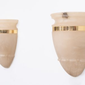 Alabaster Classic Greek wall lamps  Spain 1970s