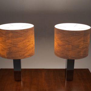 Goffredo Reggiani Chrome table lamps Italy 1960s
