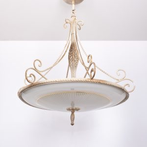 Wrought Iron glass  France  Chandelier  1950s