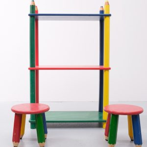 Vintage French Multicolored Bookcase by Pierre Sala, 1980